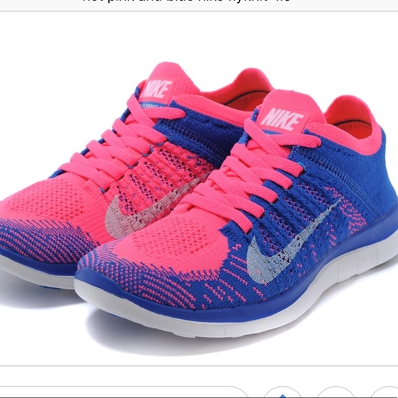 nike free flyknit blue and pink